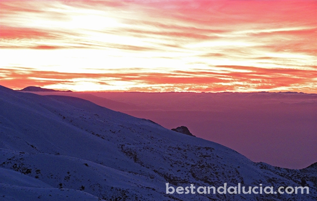 Romantic sunset in Sierra Bevada